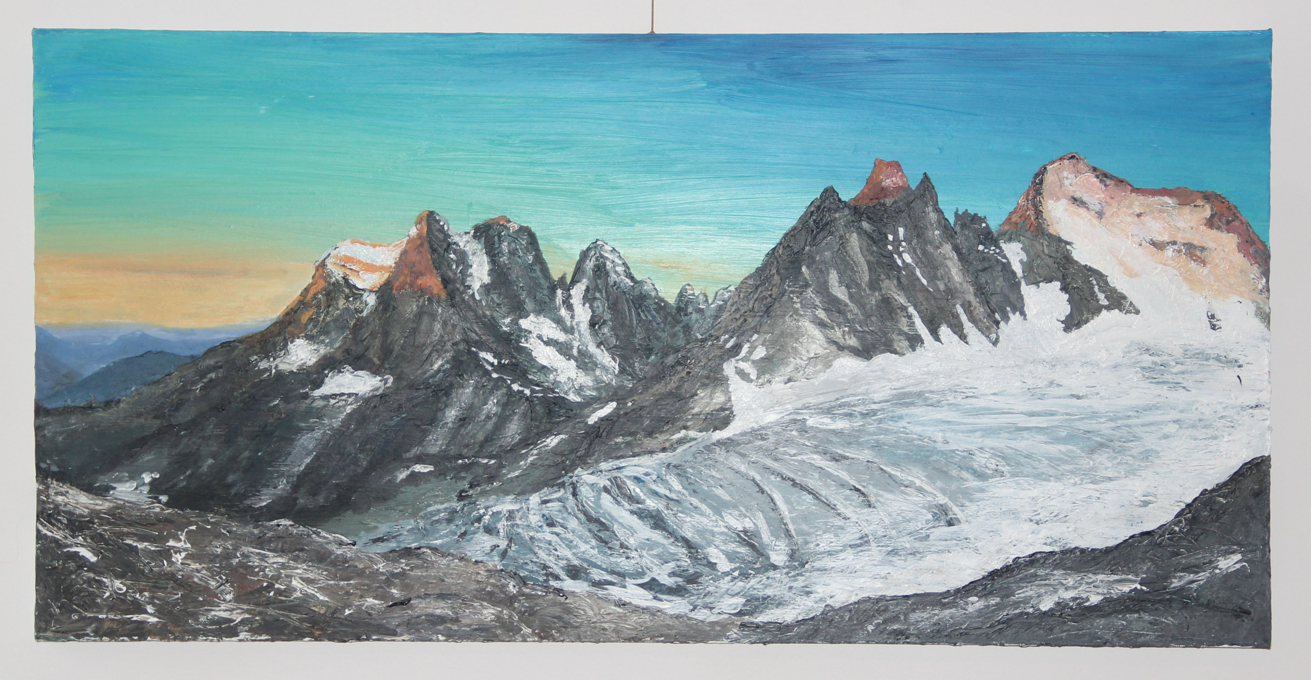 The Barre des Ecrins at Sunrise, acrylic on canvas.