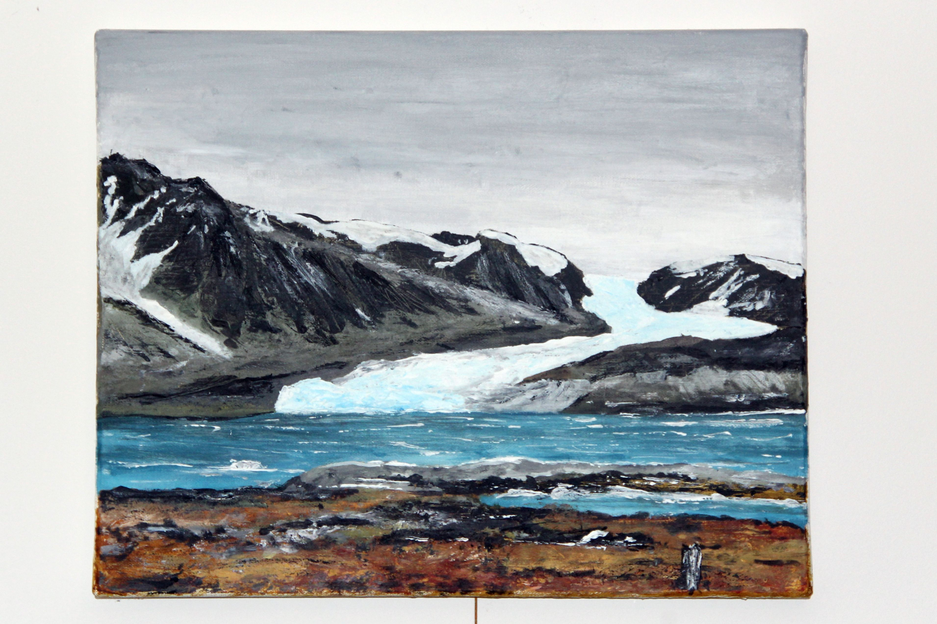 Conwaybreen, Svalbard on a cold summer day, acrylic on canvas.